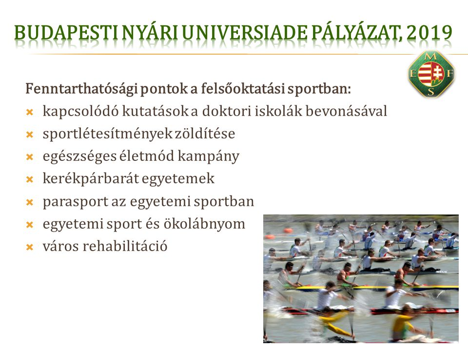 Budapesti Nyári Universiade pályázat, 2019