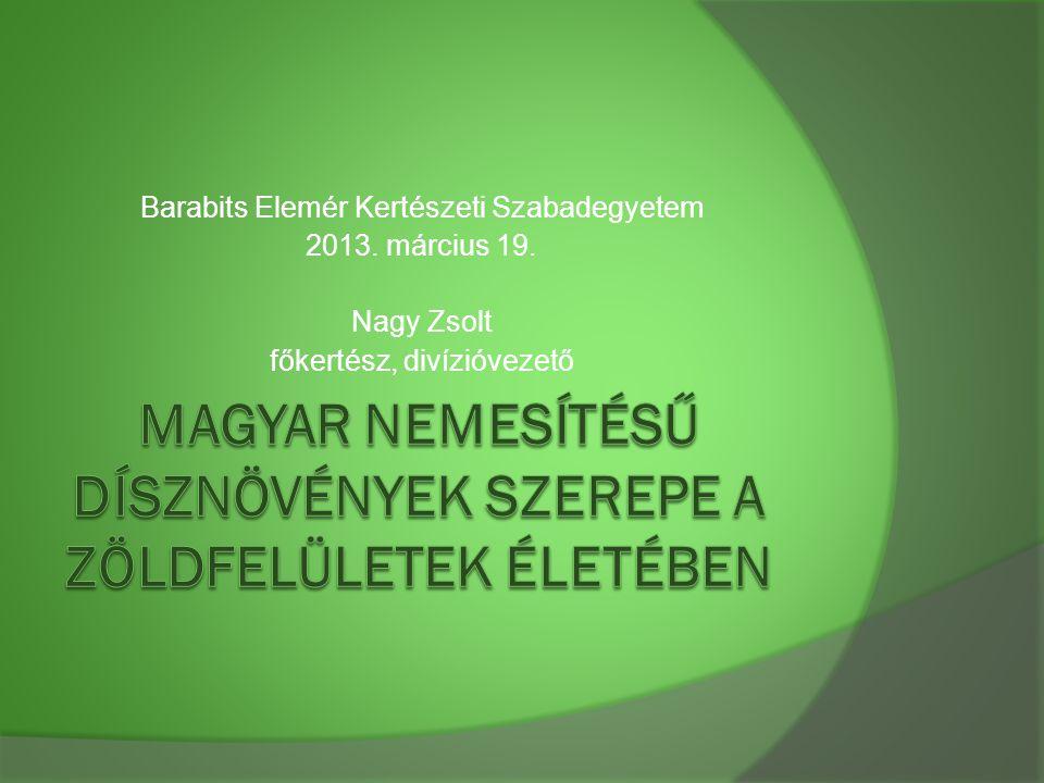 Magyar nemesítésű dísznövények szerepe a zöldfelületek életében