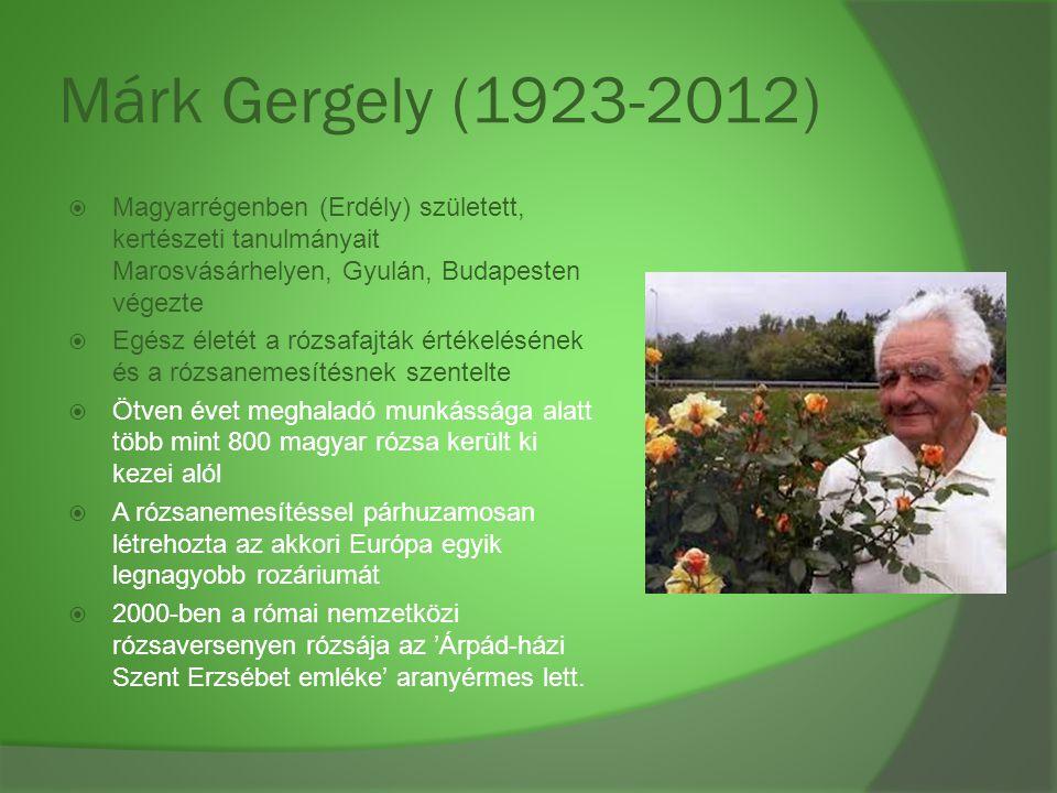 Márk Gergely (1923-2012) Magyarrégenben (Erdély) született, kertészeti tanulmányait Marosvásárhelyen, Gyulán, Budapesten végezte.