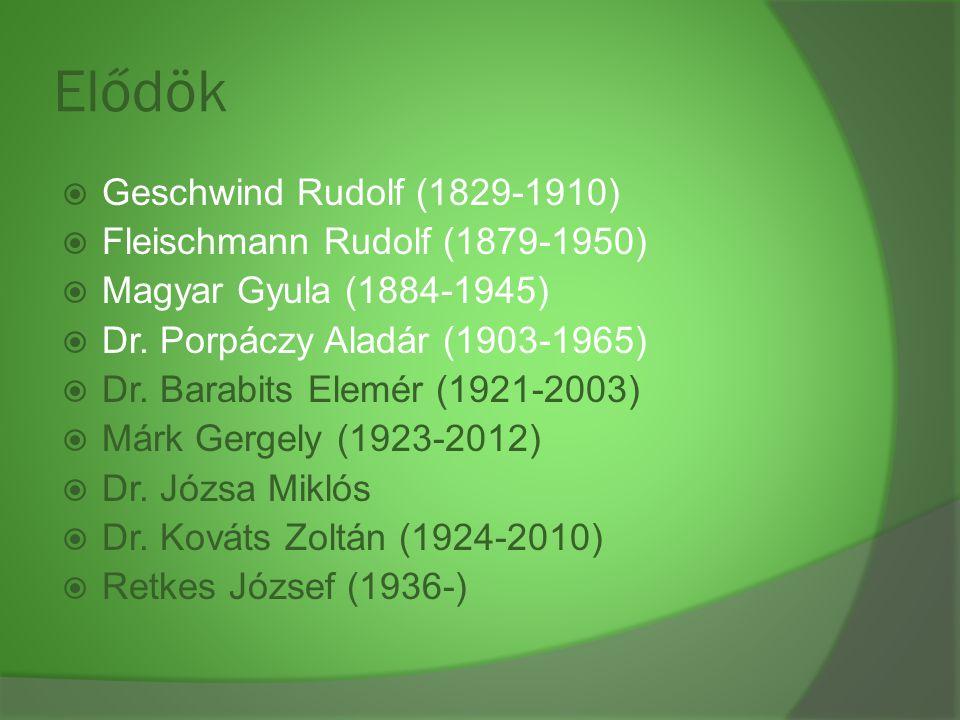 Elődök Geschwind Rudolf (1829-1910) Fleischmann Rudolf (1879-1950)