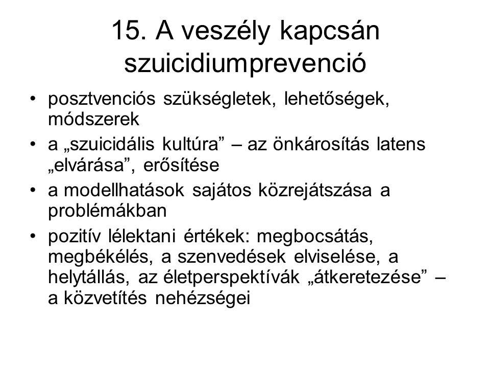15. A veszély kapcsán szuicidiumprevenció