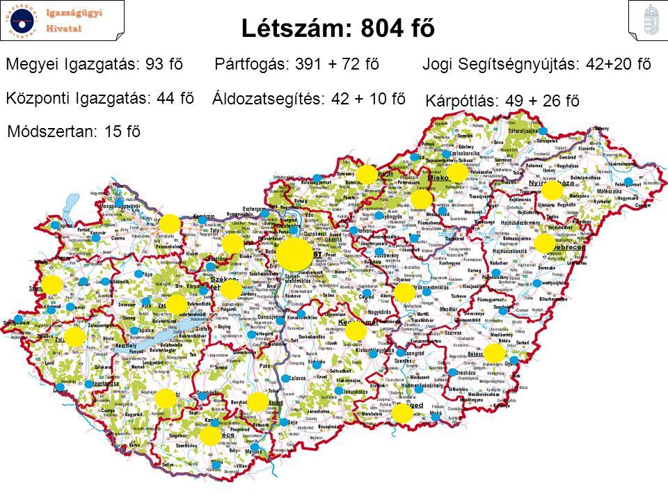 Létszám: 804 fő Megyei Igazgatás: 93 fő Pártfogás: 391 + 72 fő