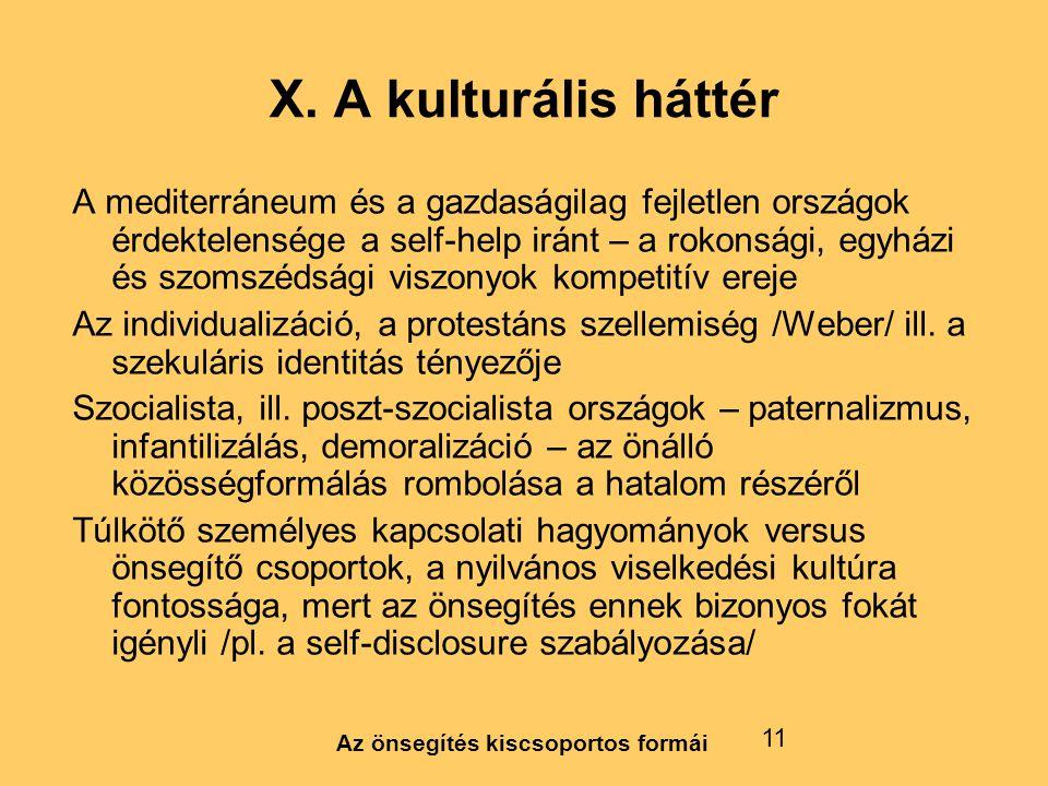 X. A kulturális háttér