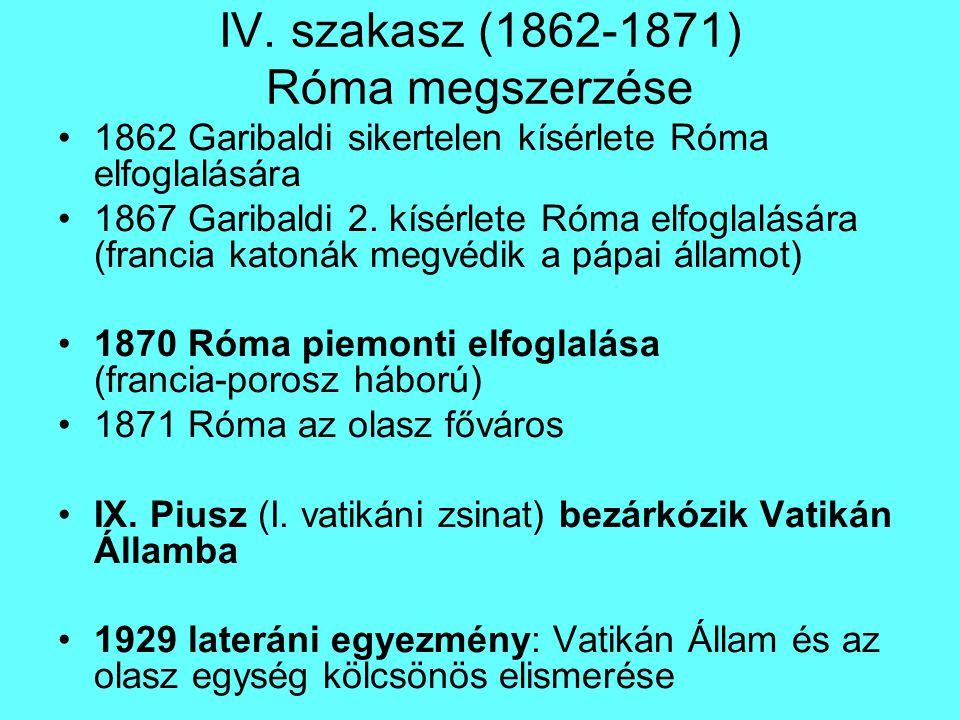 IV. szakasz (1862-1871) Róma megszerzése