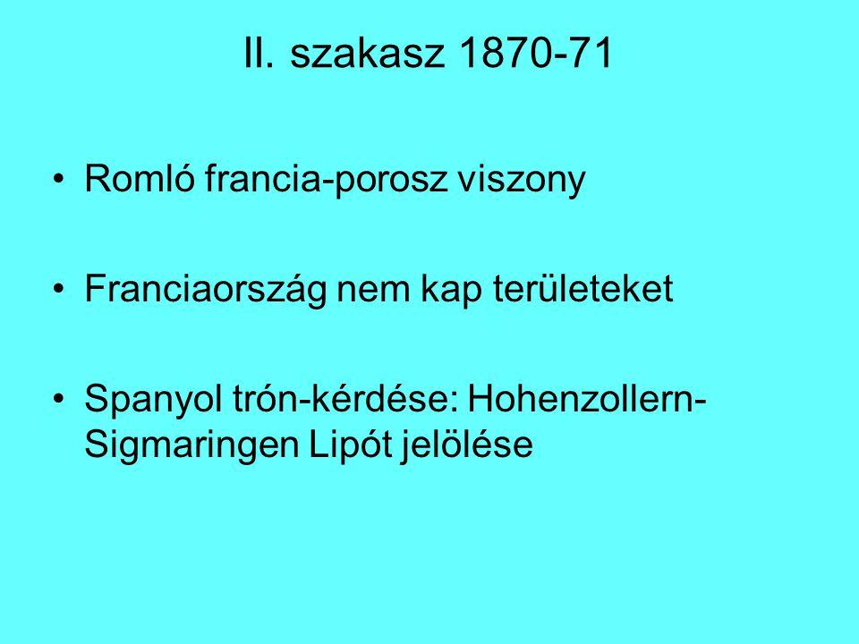 II. szakasz 1870-71 Romló francia-porosz viszony