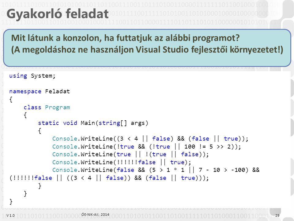 Gyakorló feladat Mit látunk a konzolon, ha futtatjuk az alábbi programot (A megoldáshoz ne használjon Visual Studio fejlesztői környezetet!)