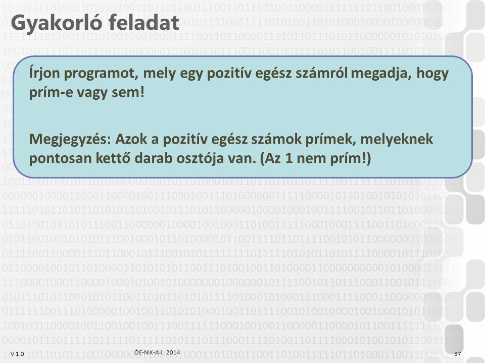 Gyakorló feladat Írjon programot, mely egy pozitív egész számról megadja, hogy prím-e vagy sem!
