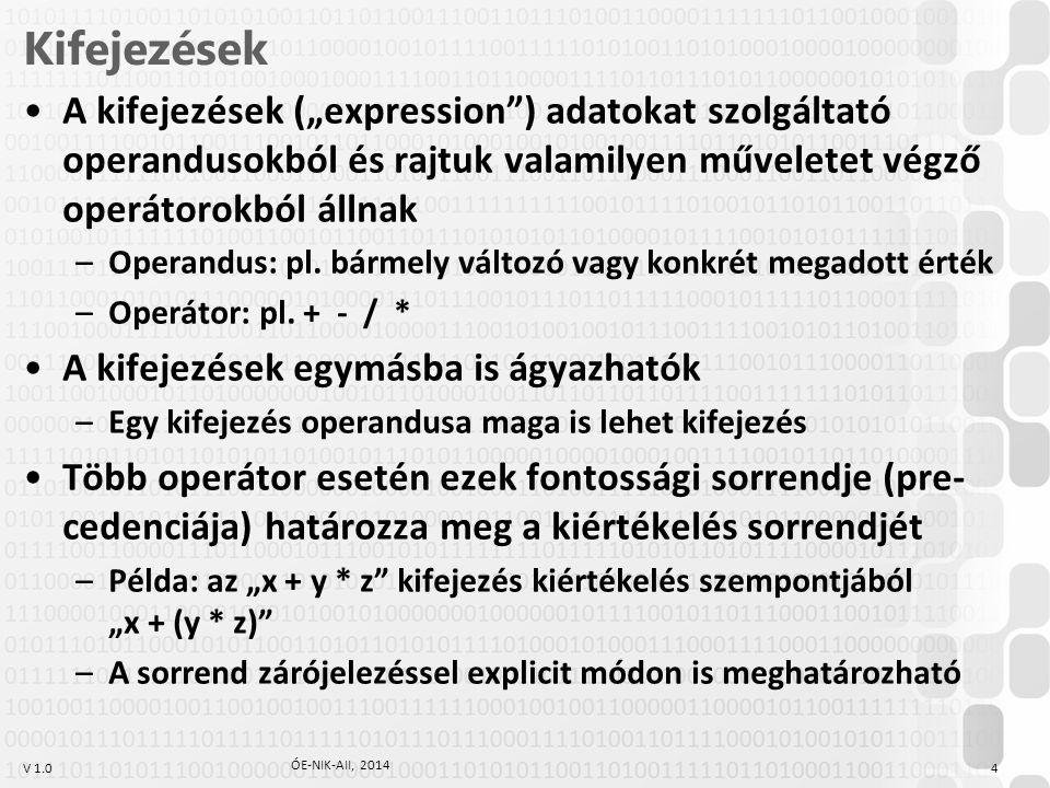 """Kifejezések A kifejezések (""""expression ) adatokat szolgáltató operandusokból és rajtuk valamilyen műveletet végző operátorokból állnak."""