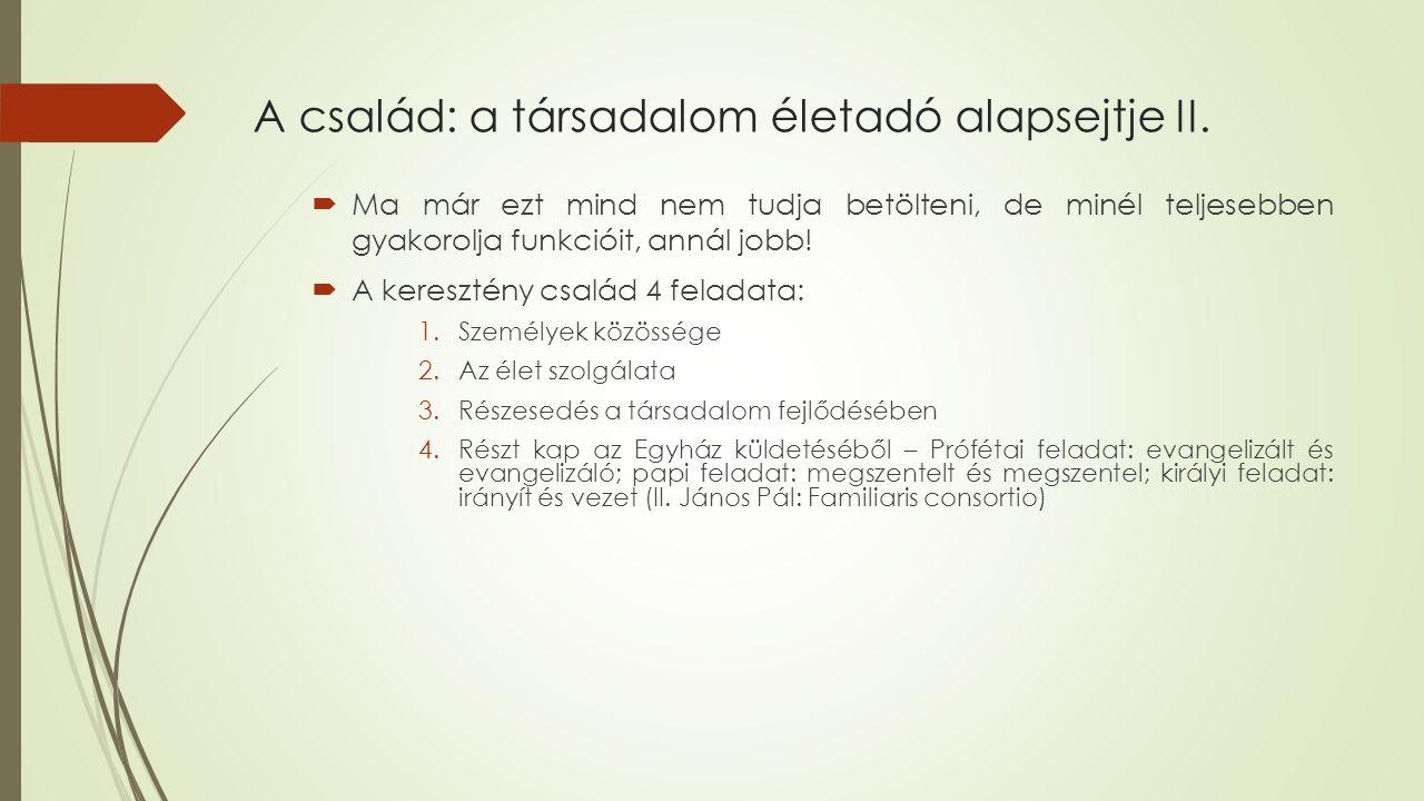 A család: a társadalom életadó alapsejtje II.
