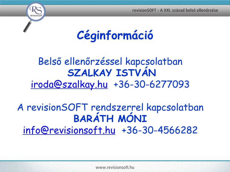 Céginformáció Belső ellenőrzéssel kapcsolatban SZALKAY ISTVÁN