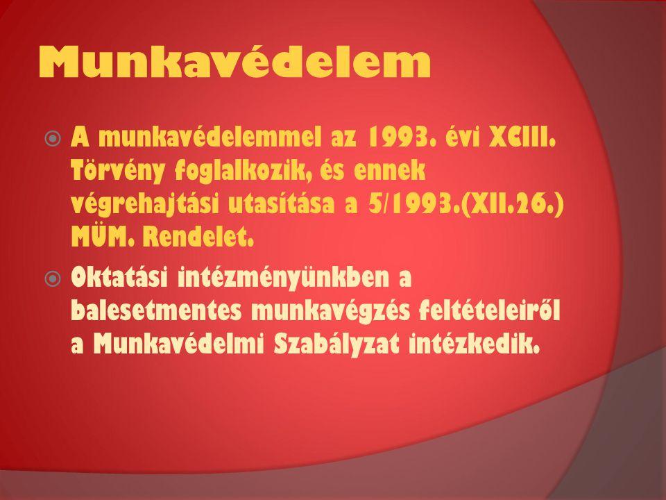 Munkavédelem A munkavédelemmel az 1993. évi XCIII. Törvény foglalkozik, és ennek végrehajtási utasítása a 5/1993.(XII.26.) MÜM. Rendelet.
