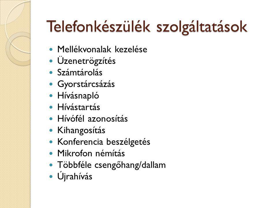 Telefonkészülék szolgáltatások