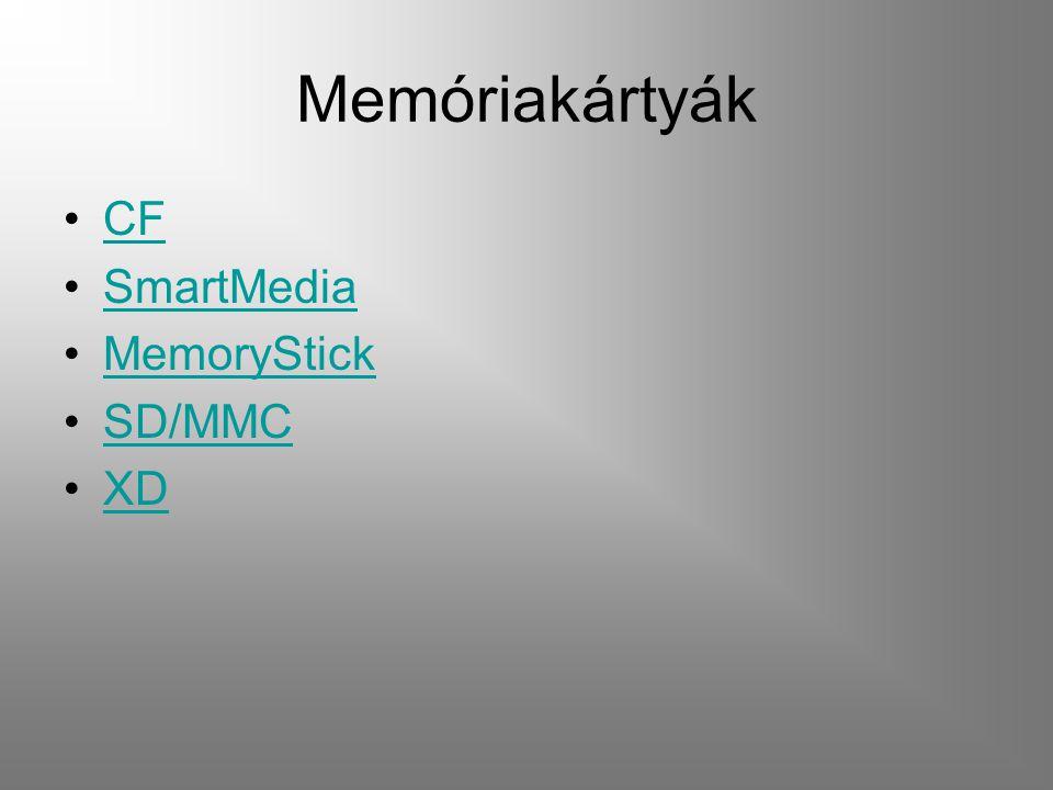 Memóriakártyák CF SmartMedia MemoryStick SD/MMC XD