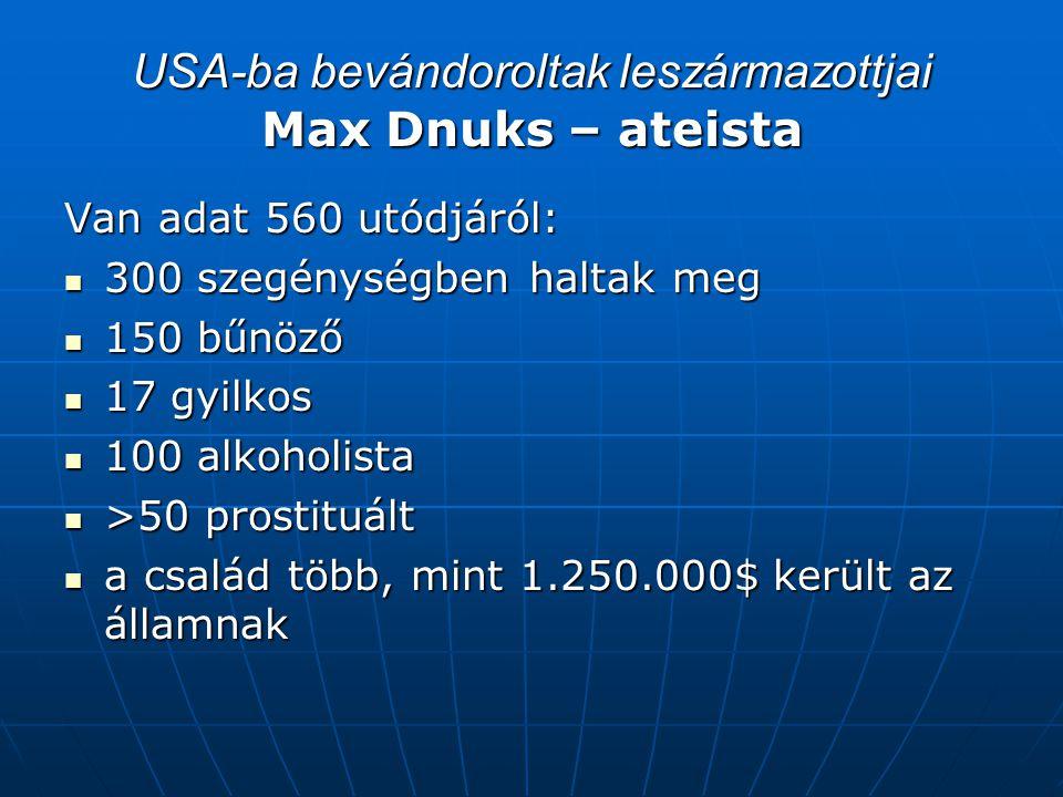 USA-ba bevándoroltak leszármazottjai Max Dnuks – ateista