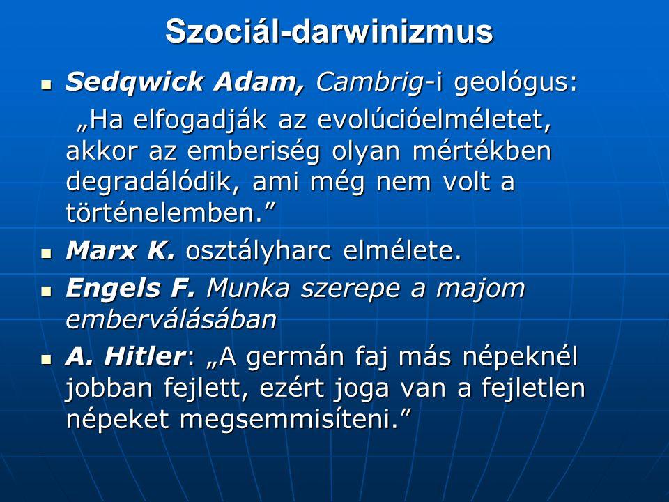 Szociál-darwinizmus Sedqwick Adam, Cambrig-i geológus: