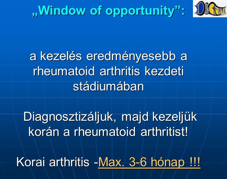 """""""Window of opportunity : a kezelés eredményesebb a rheumatoid arthritis kezdeti stádiumában Diagnosztizáljuk, majd kezeljük korán a rheumatoid arthritist."""