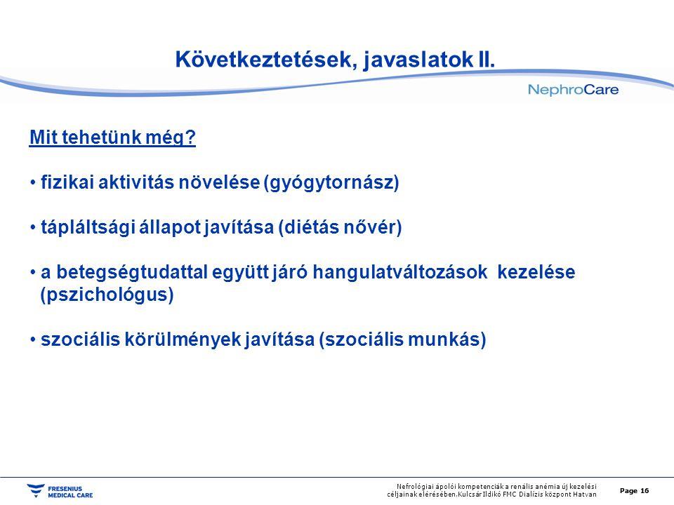 Következtetések, javaslatok II.