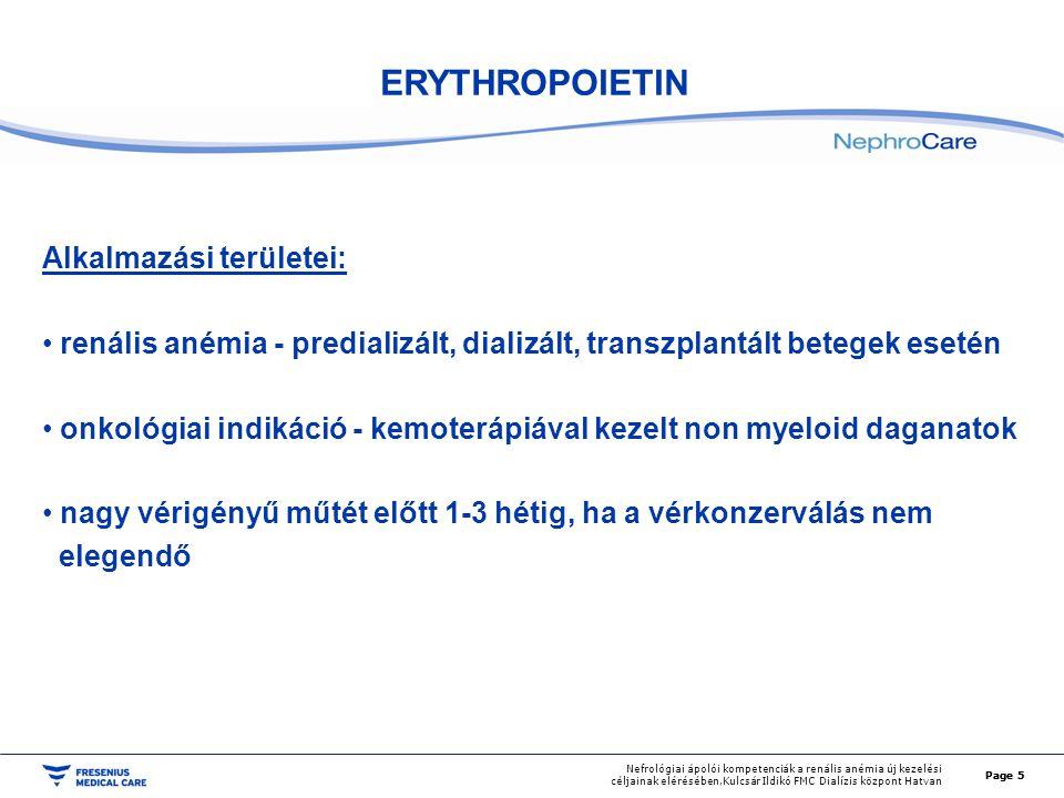 ERYTHROPOIETIN Alkalmazási területei: