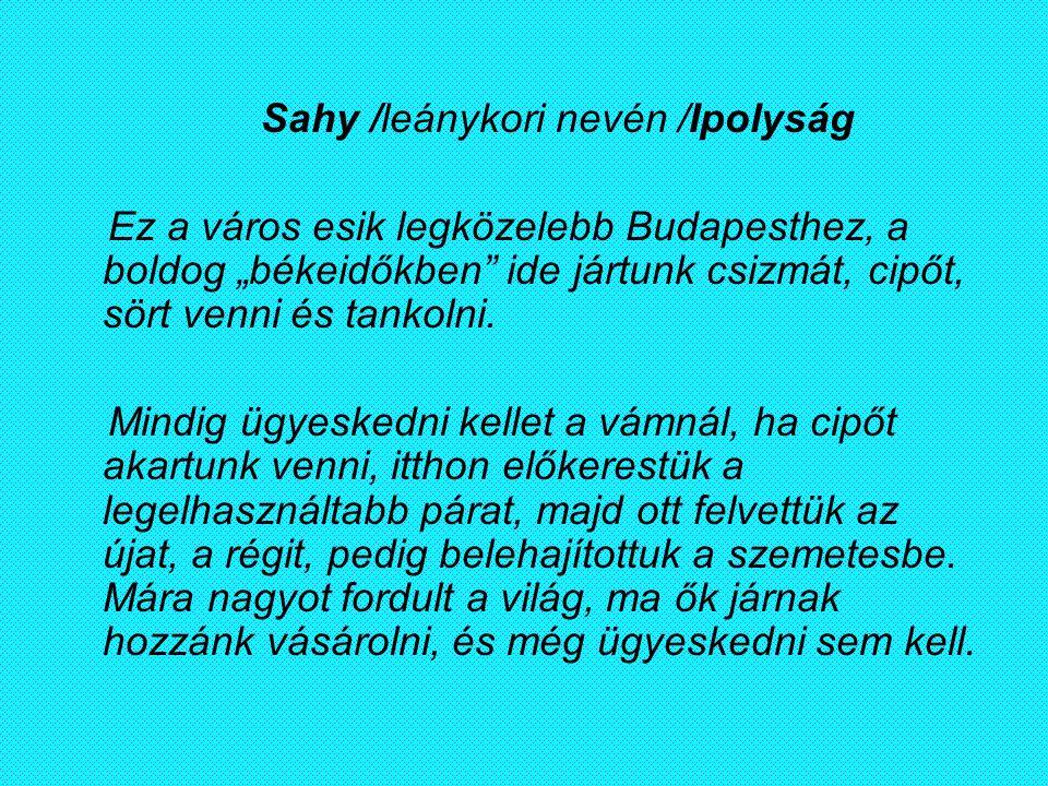Sahy /leánykori nevén /Ipolyság