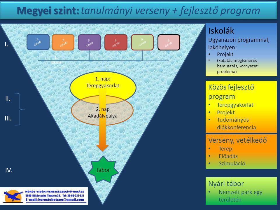 Megyei szint: tanulmányi verseny + fejlesztő program