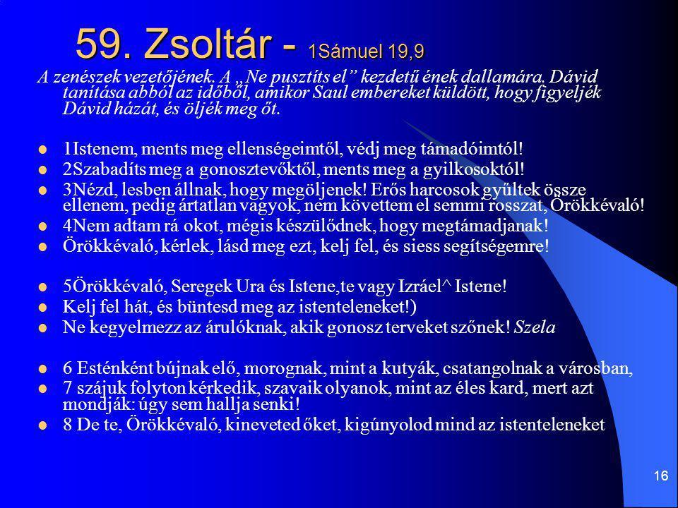 59. Zsoltár - 1Sámuel 19,9
