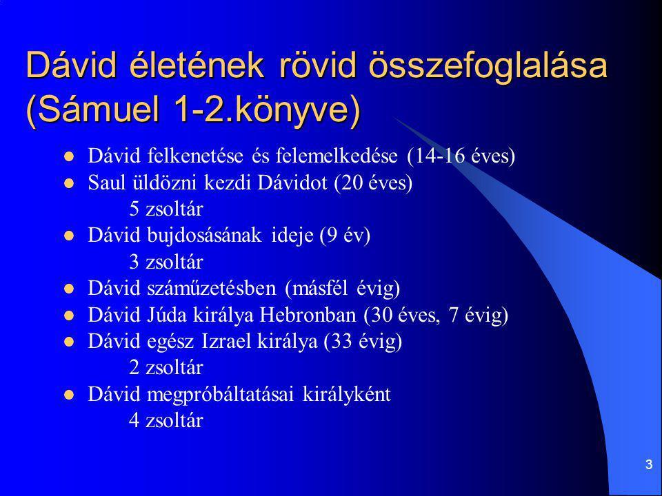 Dávid életének rövid összefoglalása (Sámuel 1-2.könyve)