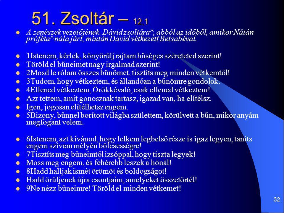 51. Zsoltár – 12,1 A zenészek vezetőjének. Dávid zsoltára^, abból az időből, amikor Nátán próféta^ nála járt, miután Dávid vétkezett Betsabéval.