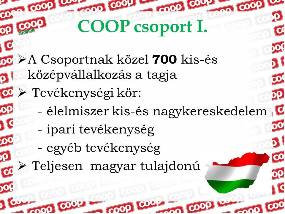 COOP csoport I. A Csoportnak közel 700 kis-és középvállalkozás a tagja