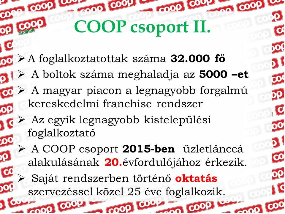 COOP csoport II. A foglalkoztatottak száma 32.000 fő