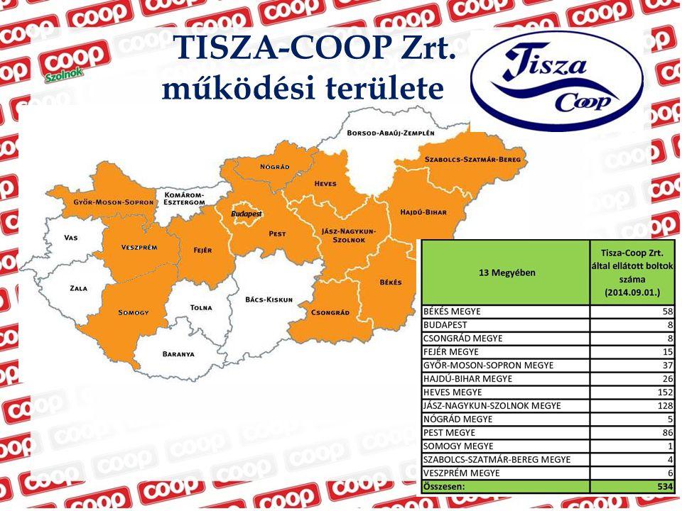 TISZA-COOP Zrt. működési területe