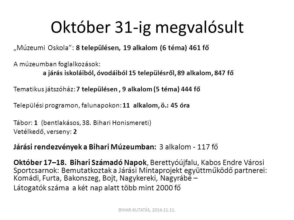Október 31-ig megvalósult