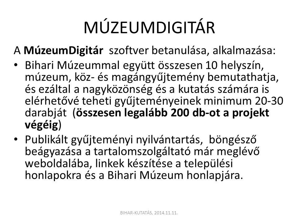 MÚZEUMDIGITÁR A MúzeumDigitár szoftver betanulása, alkalmazása:
