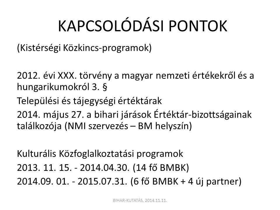 KAPCSOLÓDÁSI PONTOK