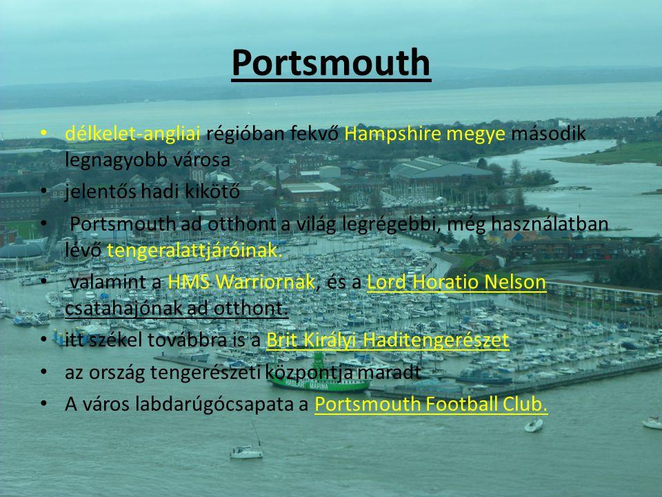 Portsmouth délkelet-angliai régióban fekvő Hampshire megye második legnagyobb városa. jelentős hadi kikötő.