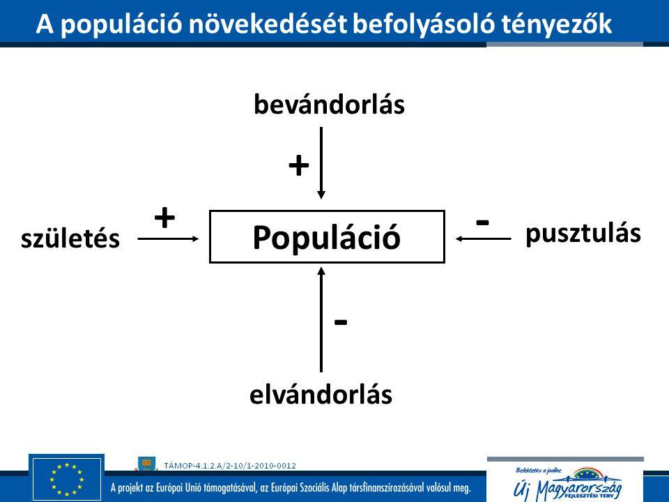 - - + + Populáció A populáció növekedését befolyásoló tényezők