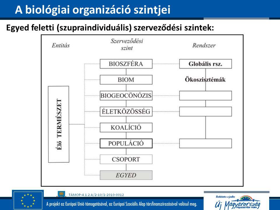 A biológiai organizáció szintjei