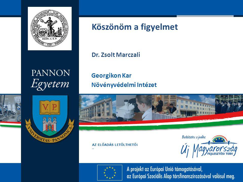 Köszönöm a figyelmet Dr. Zsolt Marczali