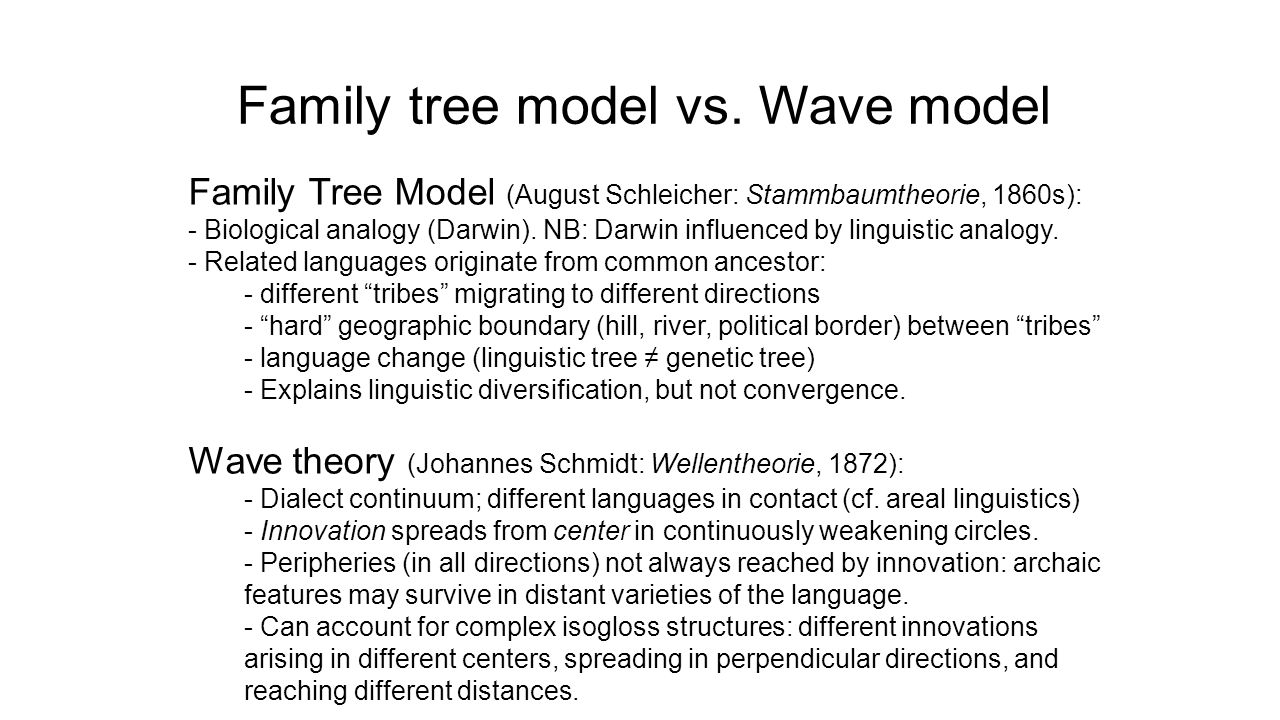 Family tree model vs. Wave model