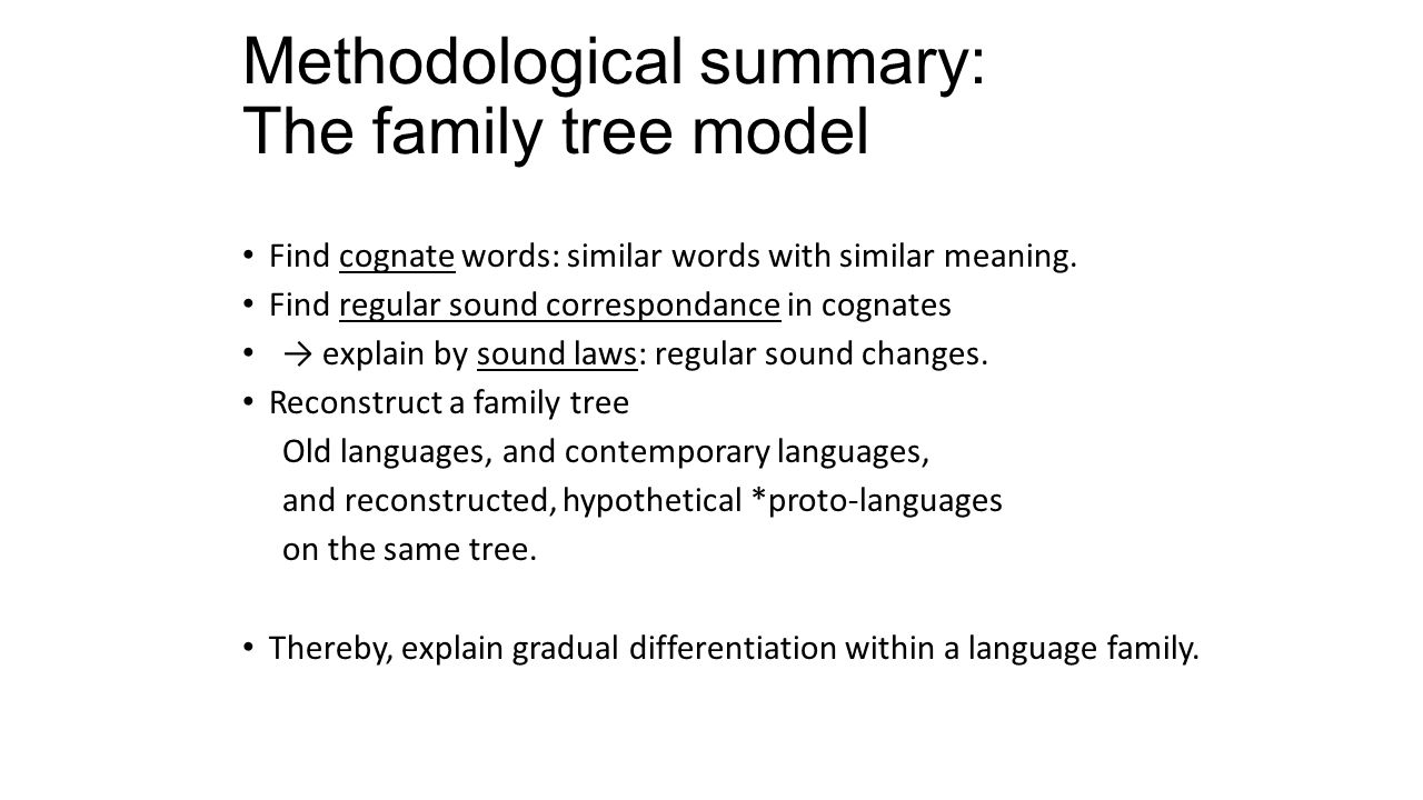 Methodological summary: The family tree model