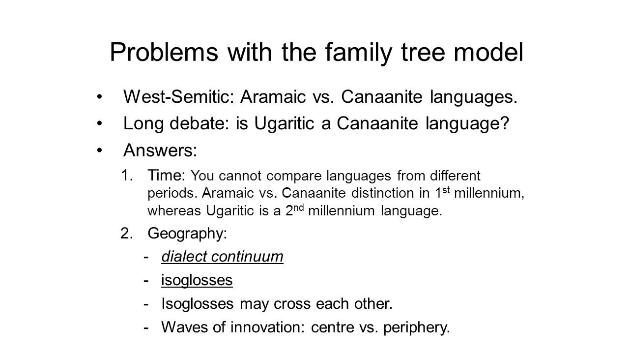 Problems with the family tree model