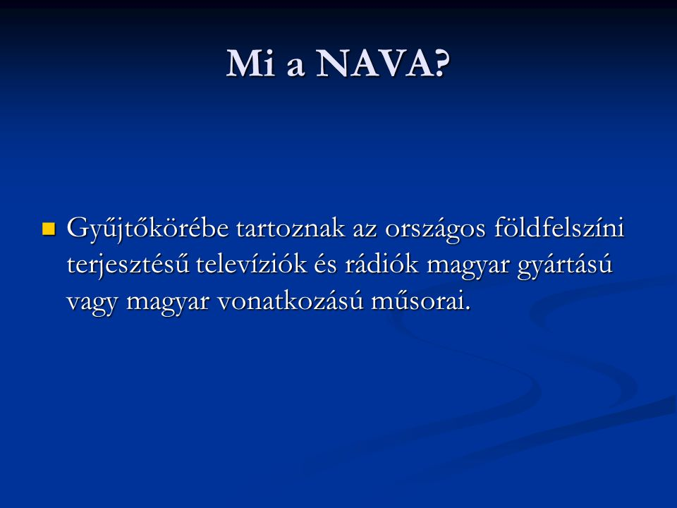 Mi a NAVA.