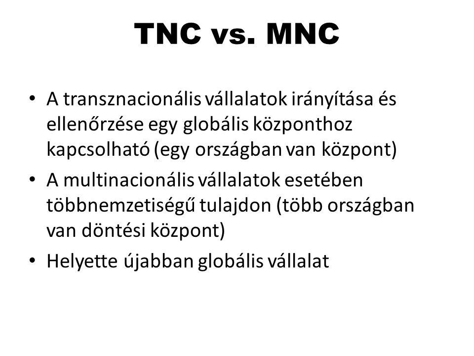 TNC vs. MNC A transznacionális vállalatok irányítása és ellenőrzése egy globális központhoz kapcsolható (egy országban van központ)