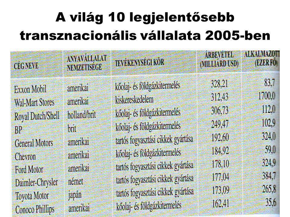 A világ 10 legjelentősebb transznacionális vállalata 2005-ben