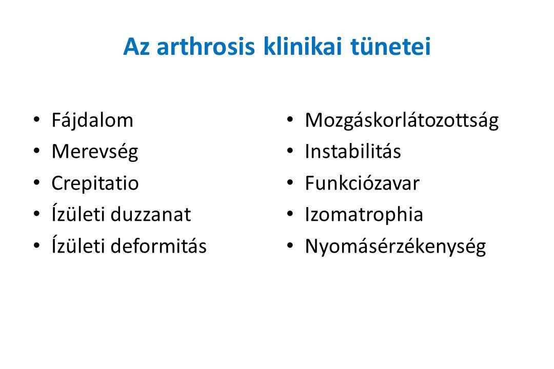 Az arthrosis klinikai tünetei