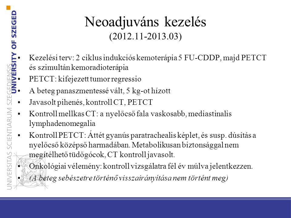 Neoadjuváns kezelés (2012.11-2013.03)