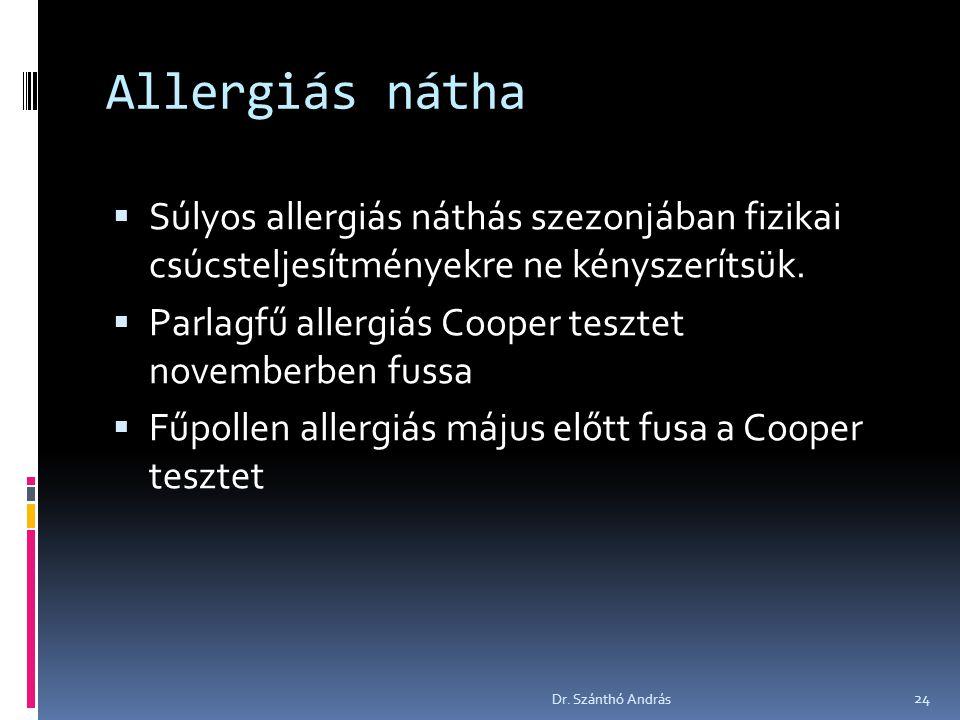 Allergiás nátha Súlyos allergiás náthás szezonjában fizikai csúcsteljesítményekre ne kényszerítsük.
