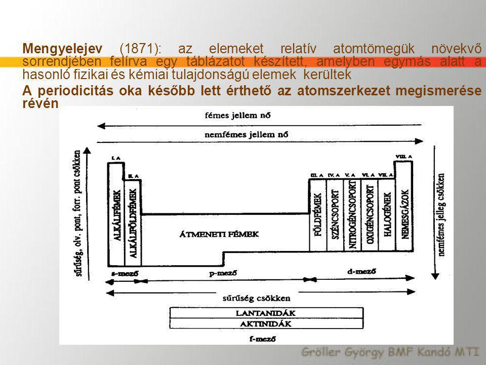 Mengyelejev (1871): az elemeket relatív atomtömegük növekvő sorrendjében felírva egy táblázatot készített, amelyben egymás alatt a hasonló fizikai és kémiai tulajdonságú elemek kerültek