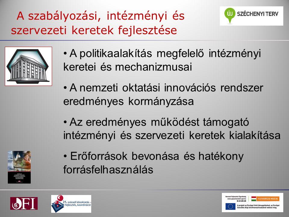 A szabályozási, intézményi és szervezeti keretek fejlesztése