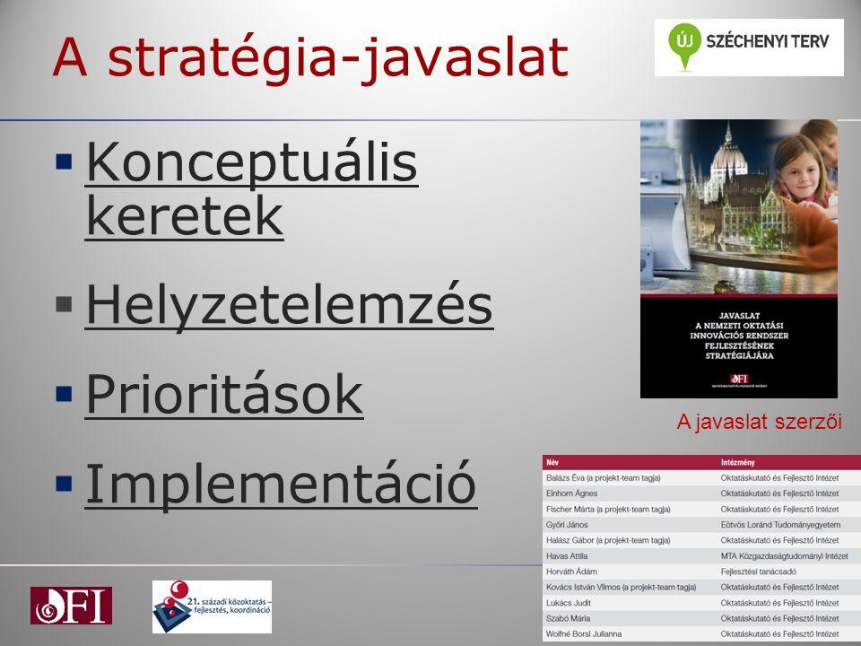 A stratégia-javaslat Konceptuális keretek Helyzetelemzés Prioritások