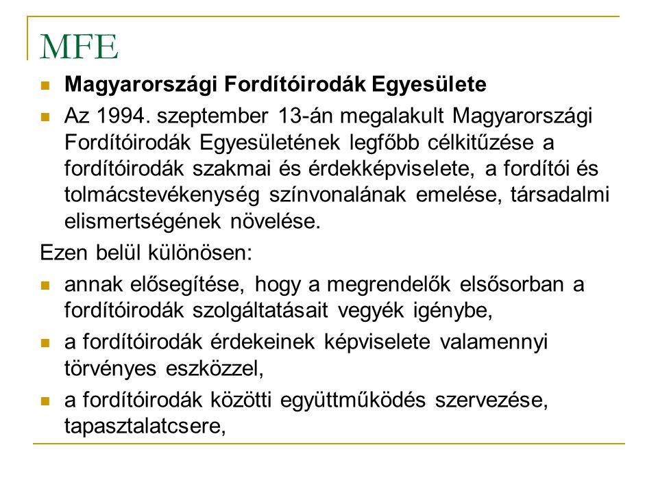 MFE Magyarországi Fordítóirodák Egyesülete